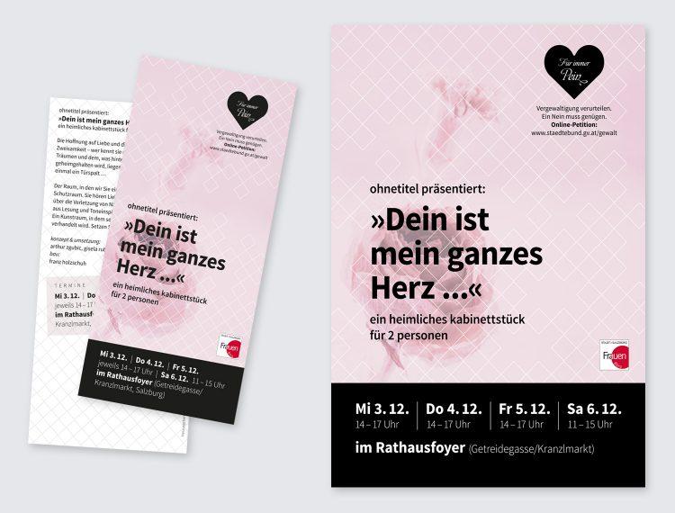 """Plakate und Flyer für begleitende Kunst-Aktion """"Dein ist mein ganzes Herz"""""""